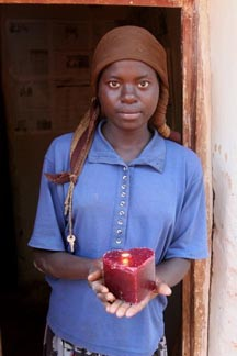 African lady w/ candle